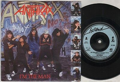 """ANTHRAX I'm The Man 7"""" Ps, Def Uncensored Version B/W Caught In A Mosh-Live, Is"""