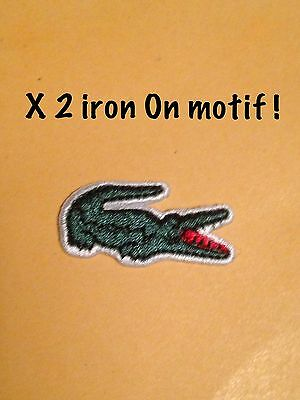 Small Embroidered Crocodile Iron On Patch Sew On Motif 2 Iron On Patches Pair 2