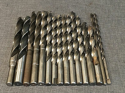 "Lot of 16 Used Long High Speed Drill Bits - 5/8"" - 5/16"""