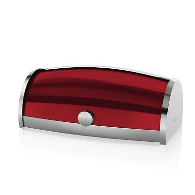 Swan Townhouse Stainless Steel Roll Top Bread Bin Food Storage Container Red New