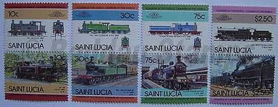 1985 ST LUCIA Set #4 Train Locomotive Railway Stamps (Leaders of the World)