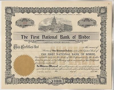 Circa 1900 Stock Certificate - The First National Bank Of Bisbee - Arizona
