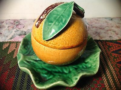 Majolica Orange Condiment jam pot