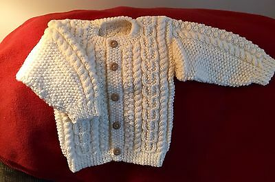Child's Irish Fisherman's Aran Cabled Hand Knit Sweater Size One - New