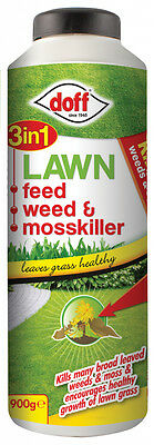 Doff 3 in 1 Lawn feed, weed and mosskiller - 900g shaker bottle