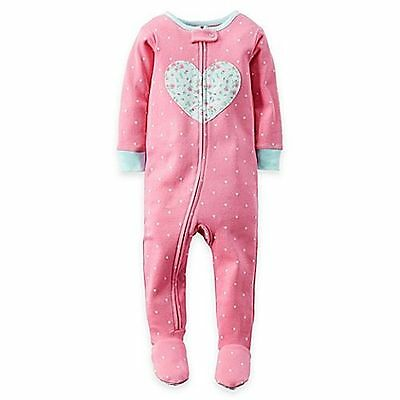 NEW Carter's Girls Zip-Front Floral Heart Polka Dot Footed Pajama SZ 24M, 3T, 4T