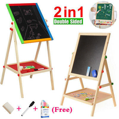 Adjustable Children Kids Black/White Easel Chalk Drawing Board Painting Hobies A