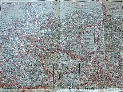 Antique Print 1926 Colour Map Of German Empire Vintage Fold Out Globe Map World