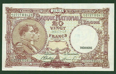 Belgium 20 Francs #111, Sharp EF/AU Note, Nice Color