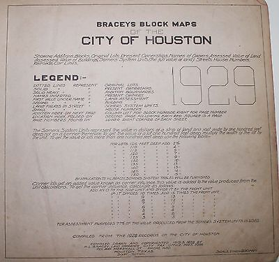 Rare 1929 block map book of Houston Texas with Detailed Owner Information