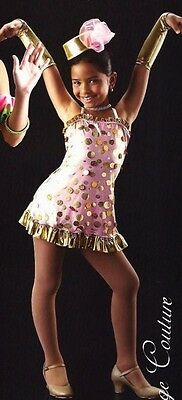 Pennies From Heaven Dance Costume Gold Polka Dot Tap Dress and Mitts CXS,CS,CXL