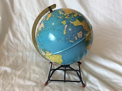 Vintage Mid Century Modern Replogle Simplified 8 Inch Metal Tin World Globe