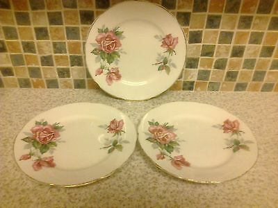 Royal Stafford Bone China 3 X Side/cake Plates Pink Roses Design