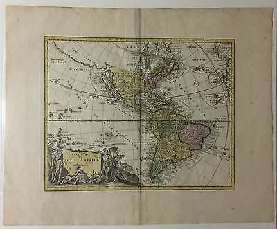 Original 1720's Map of the Americas by Weigel