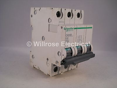 Schneider MCB 63 Amp Triple Pole 3 Phase Type D 63A C60HD363 Merlin Gerin 25736