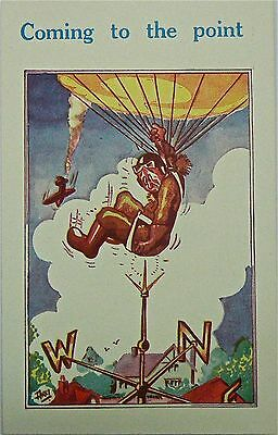 POSTCARD:WWII.COMIC.COMING TO THE POINT!ARTIST SIGNED:AKKI.PUBLISHER.H.B.Ltd