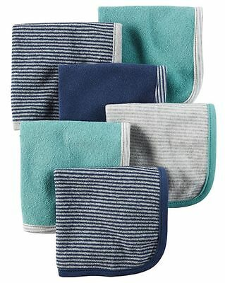 New Carter's 6 Pack Washcloths Striped Style Bath Time Boy's Towels Blue Green