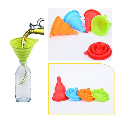 1PC Collapsible Foldable Silicone Funnel Hopper Folding Kitchen Tool Gadget