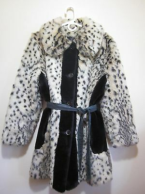 Vintage 60s MOD Leopard Fur COAT with Belt M