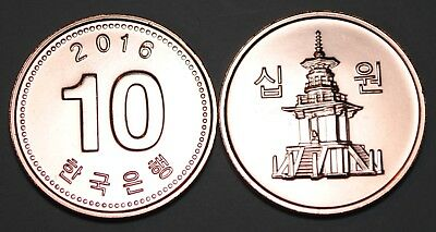 2016 South Korea 10 Won Coin BU Very Nice  KM# 103