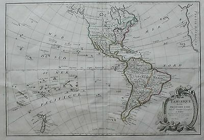 Original 1783 Map of the Americas by Janvier