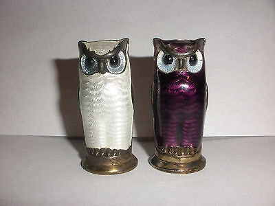 Antique Norway David Andersen Sterling silver enamel owl salt and pepper shakers