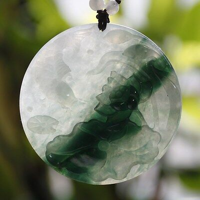 Certified (Grade A) Genuine Natural Icy Green Jadeite JADE Lotus Fish Pendant