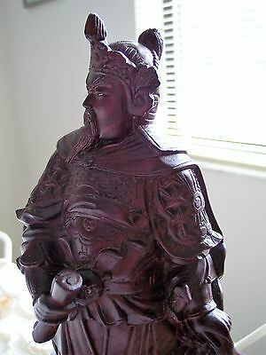 "Antique 12"" ROSEWOOD Hand Carved Emperor-Warrior Statue, Glass Eye on Cat (?)"
