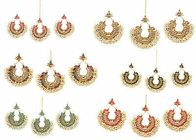 Traditional Pearl Beads Forhead Maang Tikka & Earring Set Indian Ethnic Jewelry