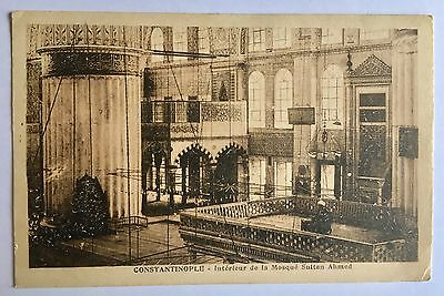 CONSTANTINOPLE Old Postcard Interior Mosque Sultan Ahmed Not Used