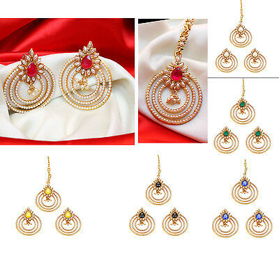 Indian Ethnic Bollywood Pearl Beads Forehead Maang Tikka & Earring Set Jewellery
