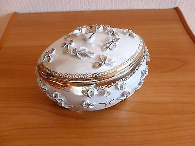 1964 Soviet Russian porcelain box for jewelry rarity on top porcelain flowers