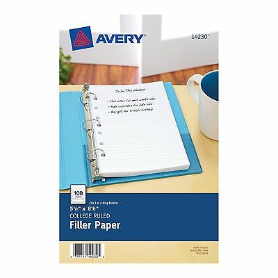 "100 Pcs Avery 5.5x8.5"" 7-Hole College Ruled Filler Paper Sheet For Mini Binders"