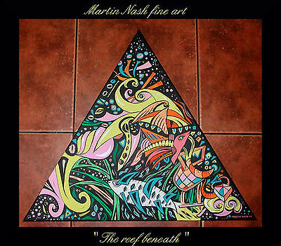 """the Reef Beneath "" - 24"" Rotatable Triangular  Surrealist Canvas By Martin Nash"