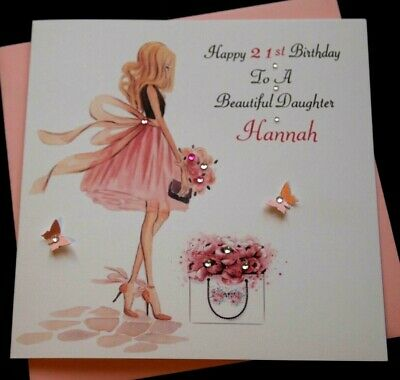 Handmade Personalised Birthday Card Beautiful Daughter Niece 21st 30th 18th etc