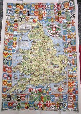 1971 Historical Map Of England & Wales Shell Collectable fc60