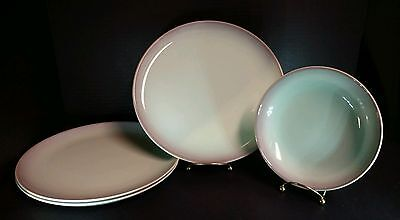 Taylor Smith Taylor Versatile TST Green Mint Brown 3 Dinner Plates 1 Cereal Bowl