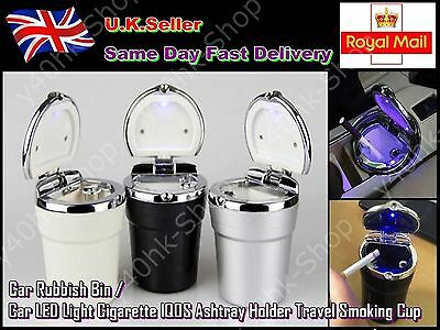 Car LED Light Cigarette / iQOS Ashtray Holder/Rubbish Bin Travel Smoking Cup
