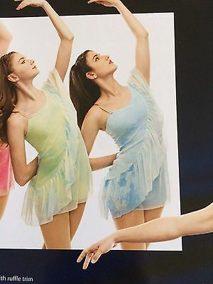IN STOCK BLUE Contemporary Lyrical frill Modern Dress Dance Costume Adult Small