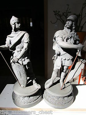 "Antique finial pair of Roman soldiers, cast iron, 16"" tall[1fstfl]"