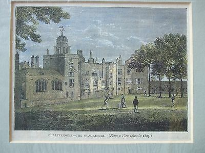 Antique Print C1800S Charterhouse The Quadrangle 1805 Lithograph Engraving