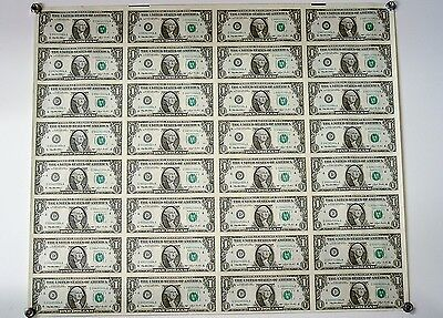 Uncut Sheet Of 32 One Dollar Bills Of 1993 Federal Reserve Notes