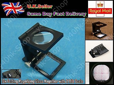 10x Folding Magnifier Glass with 2 LED for Stamp/Jewelry Identifying repair tool