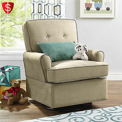 Swivel Glider Chair Recliner Nursery Baby Furniture Chair Relax Seat Beige
