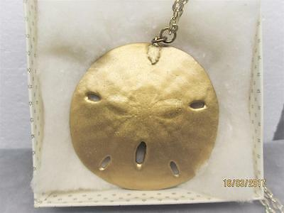 Vintage Genuine 3 Inch Gold Plated Shell-Sand Dollar Easter Lilly Design