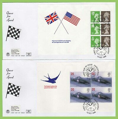 G.B. 1998 Quest for Speed booklet panes on Stuart First Day Covers