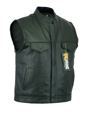 Men SOA Anarchy Motorcycle biker leather vest concealed carry arms fast shipping