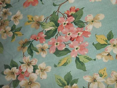 L~62x68 OVAL~PINK APPLE BLOSSOMS~CONCORD KESSLER FABRIC TABLECLOTH~W/DUPONT