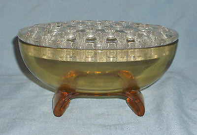 Vintage Viking Amber Oval Glass Flower Frog Candle Footed Bowl 33 Holes