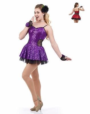Fashionista Dance Costume PURPLE Sequin Jazz Tap Ice Skating Dress Clearance